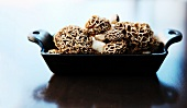 Fresh Morels in a Cast Iron Dish