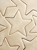 Star Shapes Cut into Sugar Cookie Dough
