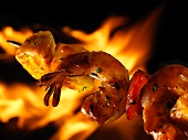 Shrimp Kabob in Front of Flames