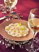 Scallop carpaccio for Christmas