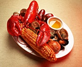 Seafood Platter with Lobster, Corn on the Cob, Clams and Mussels