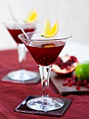 Cranberry cocktails with pomegranate seeds