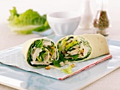 Chicken Caesar Salad Wrap; Halved