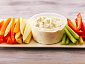 Crudités with a cheese and chive dip