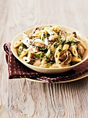 Penne with mushrooms and a creamy sauce