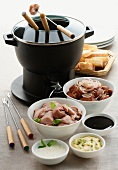 Fondue bourguignonne (French meat foundue)