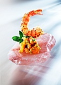 Shrimp with Fruit Compote on Salt Block