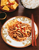 Pork with mushrooms and bamboo shoots