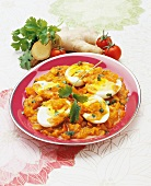 Eggs with a spicy tomato and ginger sauce