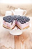 Blueberry quark cake, sliced