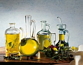 Carafes of olive oil