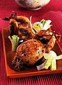 Roast quails with star anise and leek
