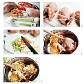 Stuffed quail being prepared