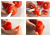 A tomato rose being made