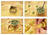 Cappellacci with a herb filling being made