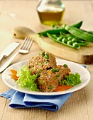Polpettone ai piselli (meatloaf with peas, Italy)