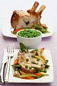 Pork rack with spring vegetables