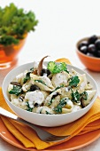Conchiglie pasta with olives and herbs