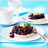 Cream cheese tartlets with red berry jelly