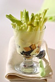 Spring onions with croutons in a cheese sauce