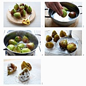 Figs being candied in vanilla syrup