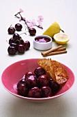 Cherries with almond brittle