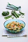 Farfalle with vegetables and Prague ham