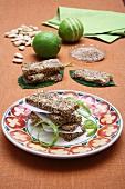 Almond bars with sesame seeds