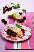 Crepes with cherry compote