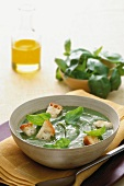 Cream of basil soup with croutons