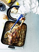Roasted leg of lamb with noodles for a Greek Easter celebration