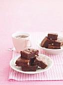 Double chocolate brownies with raspberries