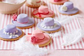 Easter bonnet biscuits with marshmallows and icing