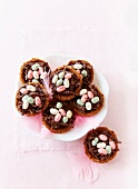 Chocolate nests with jelly beans, for Easter