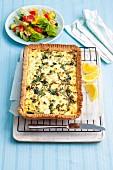 Spinach quiche with feta and ricotta