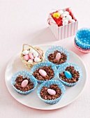 Easter treats made with chocolate, crisped rice and sugar eggs