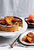 Torta di riso (rice cake, Italy) with marsala-soaked pears