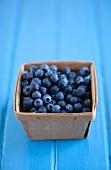Wooden Carton of Fresh Blueberries
