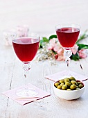 Olives and red wine