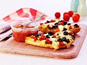 Olive and tomato salsa pizza