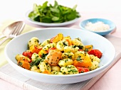 Gnocchi with oven-roasted vegetables and pesto