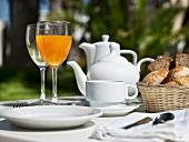 Breakfast on a garden table