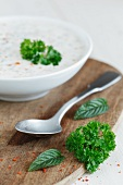 A yoghurt dip with herbs and garlic