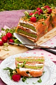 Salmon terrine with pea creme and radishes (Sweden)
