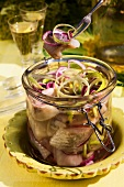 Preserved herrings with onions for Easter