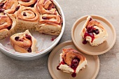 Chelsea buns with cherries