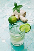 Ginger tea with lime and mint
