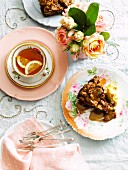 Walnut and pear cake with a cup of tea