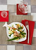 Pasta salad with smoked trout and wild garlic