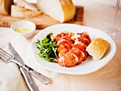 Lobster Tails with Bread and Arugula Salad